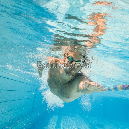 pro male swimmer in the swimming