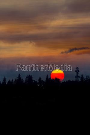 smokey sunset sky over mount scott