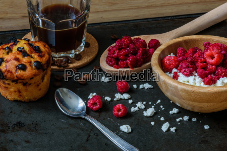 cottage cheese with raspberries coffee and