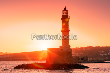 lighthouse at sunrise chania crete greece