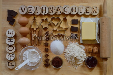 baking ingredients with wooden pieces and