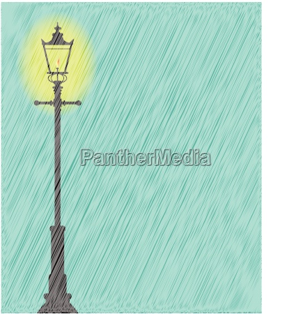 lamppost in the rain