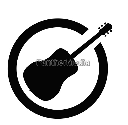 acoustic guitar black ink stamp