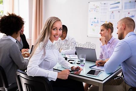 portrait of a happy businesswoman