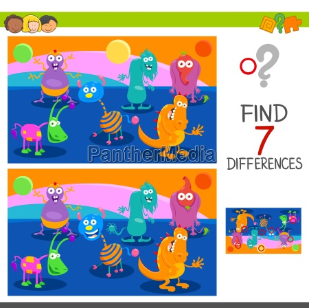 differences game with monster characters