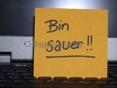 memo note on notebook bin sauer