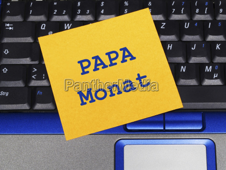 memo note on notebook papa month