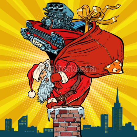 retro racing car santa claus with