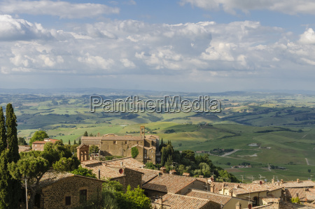 panorama of montalcino and tuscany landscape