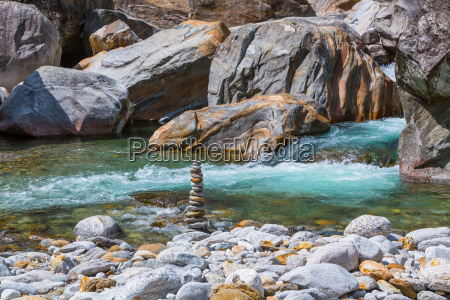 boulders and river at the verzasca