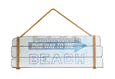old wooden way to beach sign