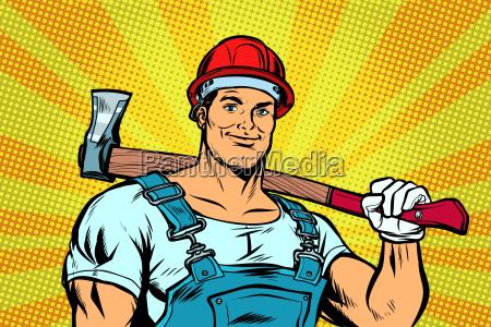 pop art lumberjack woodcutter with axe