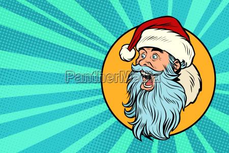 pop art santa claus face profile