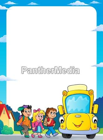 children by school bus theme frame
