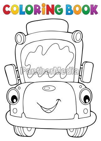 coloring book school bus theme 7