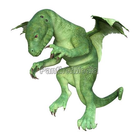 3d rendering fantasy hatchling dragon on