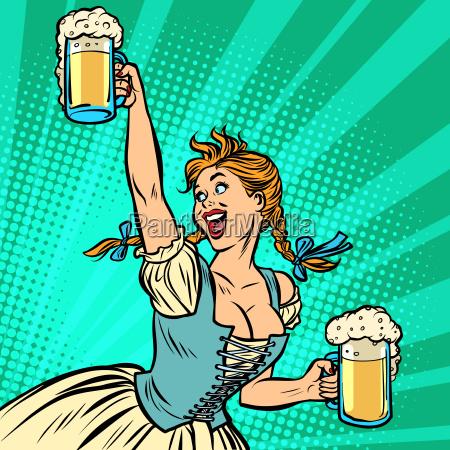 oktoberfest beer woman waitress in traditional