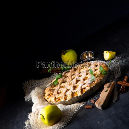 tasty apple pie with lattice upper