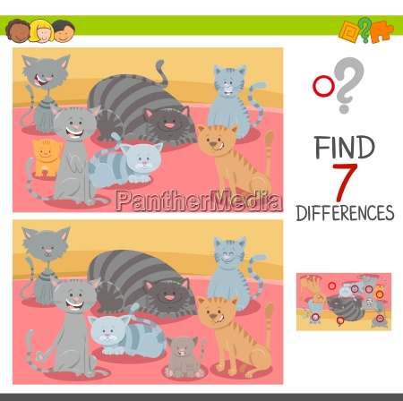 find differences game with cat characters