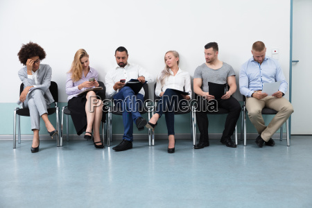 candidates waiting for an interview