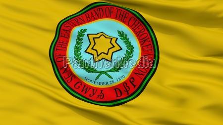 eastern band cherokee indian flag closeup