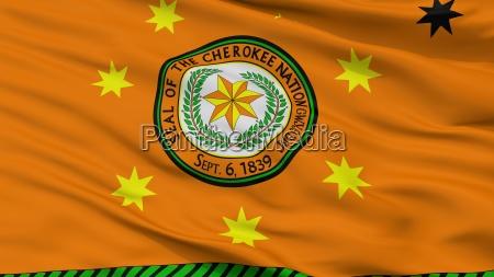 cherokee nation indian flag closeup