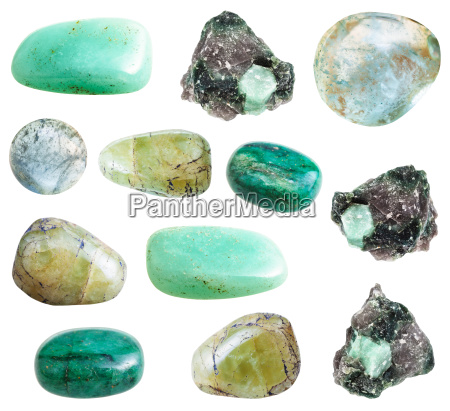 collection of green beryl gemstones isolated