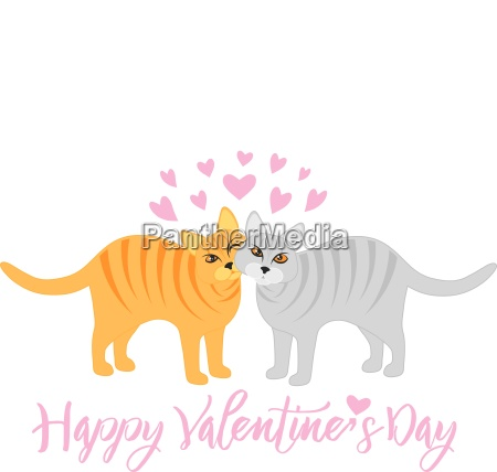 valentines day cats snuggling illustration