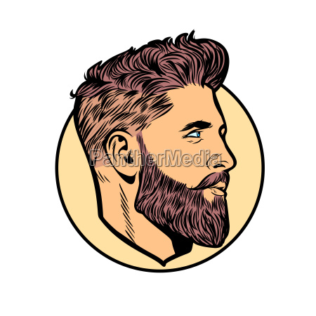 pop art men hipster face profile