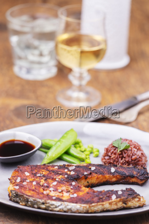 portion of grilled salmon on a