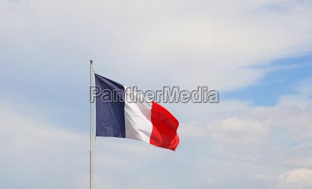 close up flag of france waving