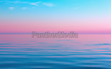 abstract calm blue with pink seascape
