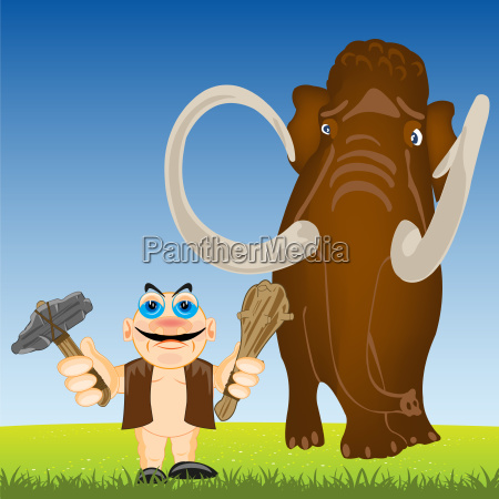 primitive person and mammoth on year