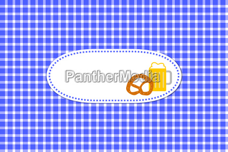 blue white chekered tablecloth with beer