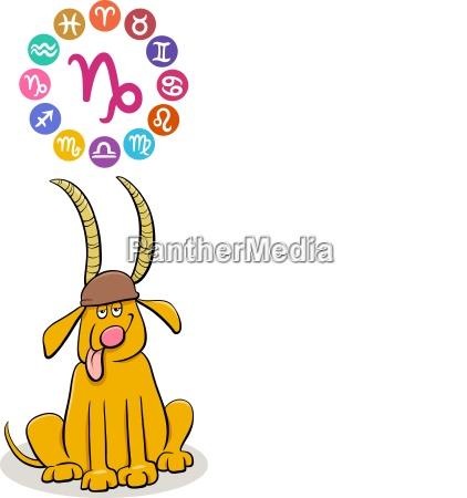 capricorn zodiac sign with cartoon dog