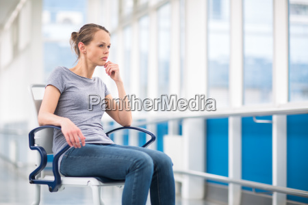female patient sitting in a wheelchair