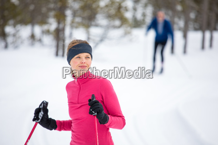 cross country skiing young woman cross