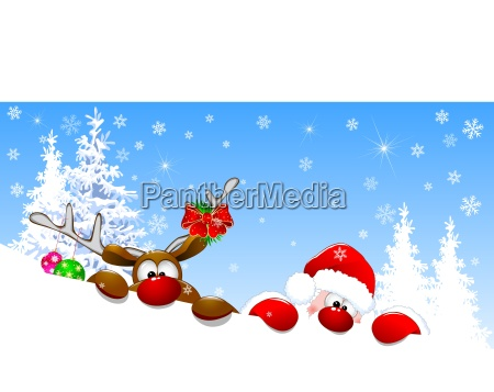 santa and deer in winter forest