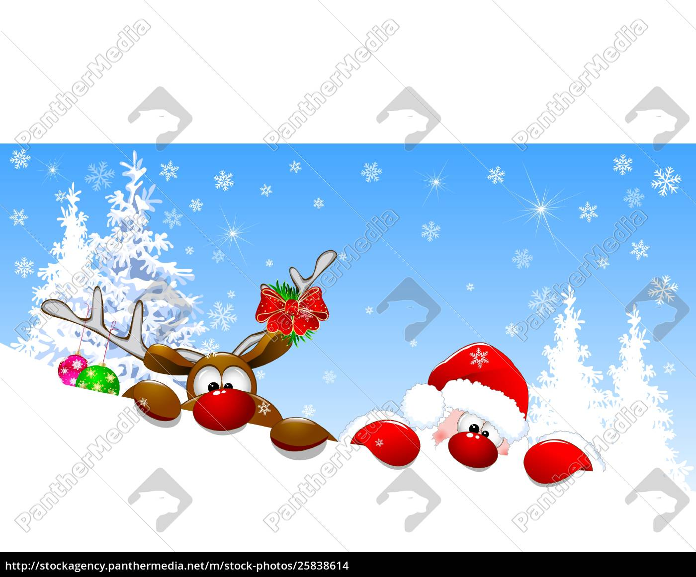 santa, and, deer, in, winter, forest - 25838614