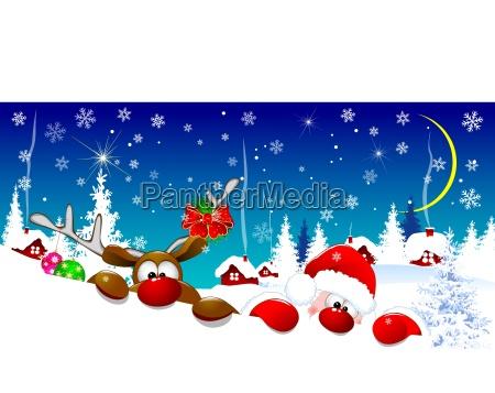 santa, and, deer, on, christmas, night - 25839733