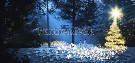 magic christmas scene in the woods
