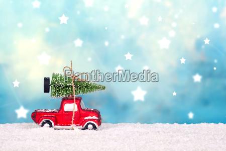 christmas tree on toy car christmas