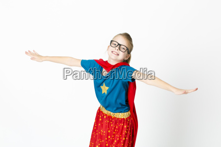 blond supergirl with glasses and red