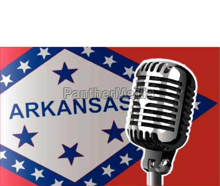 arkansas flag and microphone