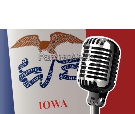 iowa flag and microphone