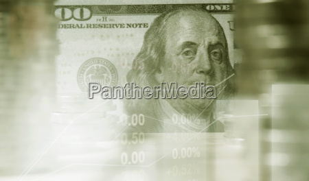 double exposure stock financial with stack