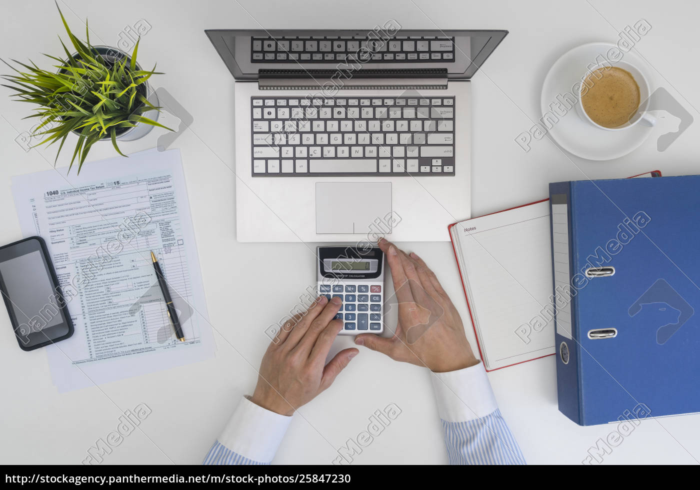 businessman, making, calculation, and, filling, tax - 25847230