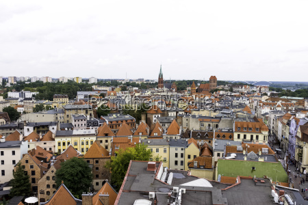 aerial panorama of old town with