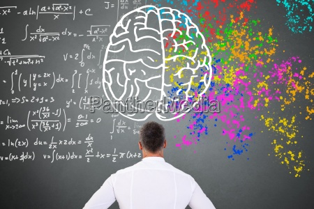 man looking at left right brain