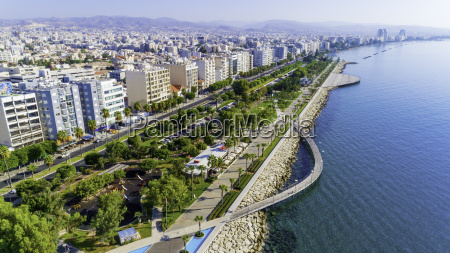 aerial view of molos limassol cyprus